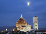Moonrise and Florence Cathedral  Basilica Di Santa Maria Del Fiore at Dusk  Florence  Italy