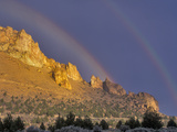 Double Rainbow over a Rock Formation Near Smith Rocks State Park  Bend  Central Oregon  Usa