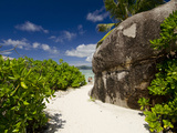 Popular Anse Source D'Agent White Sand Beach  Island of La Digue  Seychelles