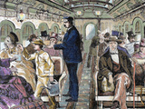 Old Railroad Car Inside View with Passengers  Usa