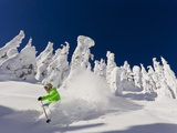 Skiing Untracked Powder on a Sunny Day at Whitefish Mountain Resort  Montana  Usa