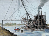 Construction of the Panama Canal Works in the Estuary of the Rio Grande Colored Engraving  1886