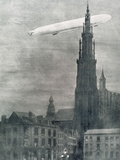 World War I (1914-1918) First German Zeppelin over Antwerpe