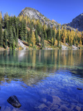 Blue Lake with Golden Larch Trees  Wenatchee National Forest  Washington  Usa