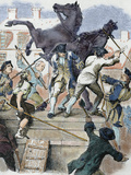 American Revolutionaries Toppling the Statue of the English King George Iii
