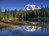 Mt Rainier Reflected in Reflection Lake  Mt Rainier National Park  Washington  Usa