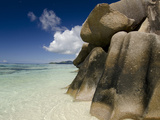 Popular Anse Source D'Agent Beach  Rocky Coastline  Island of La Digue  Seychelles