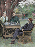 Drinking Coffee in the Garden  Colored Engraving  1876
