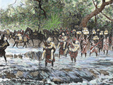 Explorers Crossing a Stream in the Mountains  Nienieya  Sudan  Colored Engraving of 1892