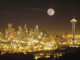 Moonrise over Nighttime Seattle  Washington  Usa