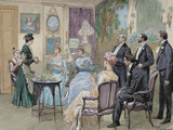 Meeting of Aristocratic Families in the Living Room Colored Engraving by George Scott  1892