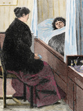Visiting a Sick Woman Colored Engraving of 'The Artistic Illustration ' 1892