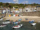 Boats in Mousehole Harbour  Near Penzance  Cornwall  England