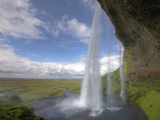 Scenic from Behind the Seljalandsfoss Waterfall  Selfoss  Iceland