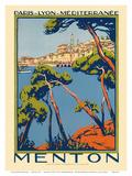 Menton, Paris - Lyon - Méditerrenée: France Railway Company, c.1920s Reproduction d'art par Roger Broders