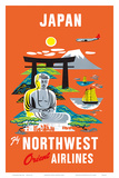 Fly Northwest Orient Airlines: Japan  c1950s
