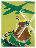 KLM Royal Dutch Airlines: Holland Windmill  c1945