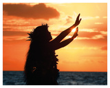 To Ask a Blessing: Hawaiian Hula Dancer at Sunset