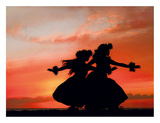 Hula Sisters: Hawaiian Hula Dancers at Sunset