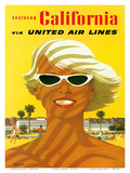 Fly United Air Lines: Southern California, c.1955 Reproduction d'art par Stan Galli