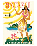 United Air Lines: Hawaii - Only Hours Away, c.1950s Giclée