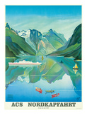 HAPAG Cruise Line: Nordkapfahrt - North Cape and Norwegian Fjords  c1957