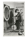 A Photograph of Passengers Using &#39;Cycle Racing Machines&#39; in the Gymnasium