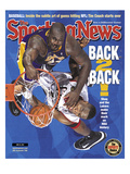 Los Angeles Lakers&#39; Shaquille O&#39;Neal and Philadelphia 76ers&#39; Dikembe Mutombo - NBA Champions - June