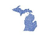 Typographic Michigan Blue