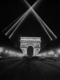 Arc De Triomphe in Paris at Night  1938