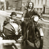 Wilhelm Bendow in a Sidecar  1930