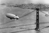 Airship over the Golden Gate Bridge in San Francisco  1937