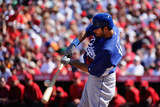 Tempe  AZ - March 12: Los Angeles Dodgers v Los Angeles Angels of Anaheim - Dee Gordon  Erick Aybar
