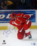 Brett Hull Red Wings Red Jersey Slap Shot Autographed Photo (Hand Signed Collectable)