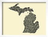 Typographic Michigan Beige Background