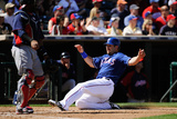 Surprise  AZ - March 11: Cleveland Indians v Texas Rangers - Mitch Moreland  Carlos Santana