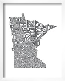Typographic Minnesota Charcoal