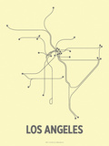 Los Angeles (Light Yellow & Dark Gray) Sérigraphie par LinePosters