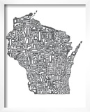 Typographic Wisconsin Charcoal