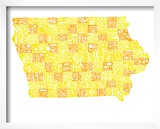 Typographic Iowa Yellow Orange