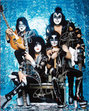Kiss Band Signed Group Pose Aqua graph
