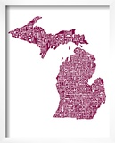 Typographic Michigan Maroon