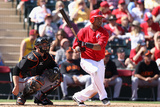 Tempe  AZ - March 10: Giants v  Angels of Anaheim - Erick Aybar  Eli Whiteside