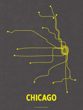 Chicago (Dark Gray & Yellow) Sérigraphie par LinePosters