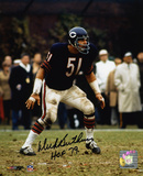Dick Butkus Chicago Bears Defensive Stance with HOF 79 Autographed Photo (Hand Signed Collectable)