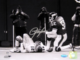 Lawrence Taylor Sack over Randall Cunningham B&W Autographed Photo (Hand Signed Collectable)