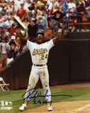 Rickey Henderson Oakland Athletics Record Breaker Autographed Photo (Hand Signed Collectable)