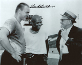 Dick Butkus Chicago Bears Black and White with George Halas and Gale Sayers