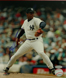 Doc Gooden Yankee Pinstripe Jersey Pitching Autographed Photo (Hand Signed Collectable)
