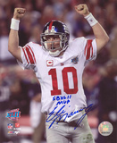 Eli Manning New York Giants - Super Bowl Celebration with SB XLII MVP Inscription